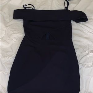 Navy blue body con cut out dress